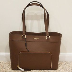 New! Calvin Klein Walnut Leather Tote